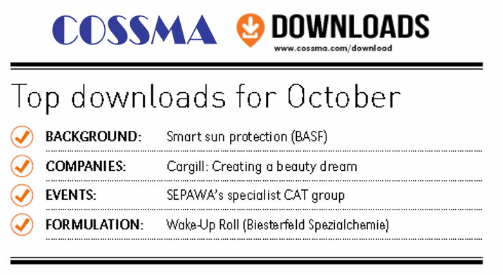 Top Downloads in October: Sun Protection, Wake-up formulations